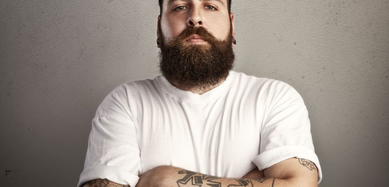 Bearded men with tattoo